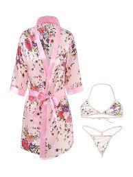 Buy <b>Women's</b> 3Pcs Nightwear <b>Sexy</b> Lingerie Floral Deep V Short ...