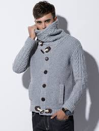 Men's High-necked Sweater Horn Button Knit Coat with Pocket Solid ...