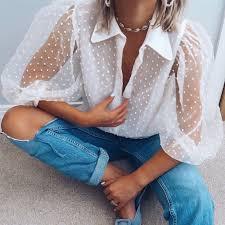 <b>Women Turn-down Collar Transparent</b> Mesh Shirt Polka Dot Lantern ...