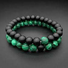 1 <b>2 pieces</b>/Set 8mm Natural Malachite stone Beads men bracelets ...