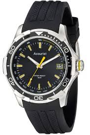 Accurist MS860BB Men s Black Dial Date <b>Silicone Strap Sports</b> Watch