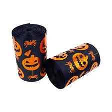 "Lazer Foil <b>Pumpkin Halloween Printed</b> 5 Yards 3"" <b>Black</b> Grosgrain"