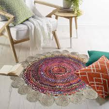 <b>Jute With</b> Chindi Floral <b>Mat</b> - Natural <b>Rugs</b> - Braided Area <b>Rug</b> ...