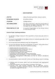 job description job title library assistant west dean college job description for library assistant