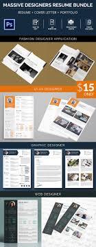resume samples examples format massive designer resume cover letter portfolio bundle 4 templates