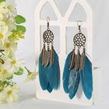 Ellastore <b>Women's Bohemia Style</b> Vintage Feather Leaves <b>Drop</b> ...