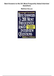 best answers to the 201 most frequently asked interview questions pdf