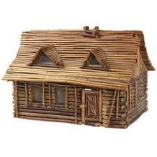 <b>LED Lighted</b> Log <b>Cabin</b> Fairy House | D&D | Log <b>cabin</b> furniture ...