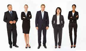 how to prepare for an interview for mba admission part i a picture that shows three women and two men standing dressed in appropriate business suits for