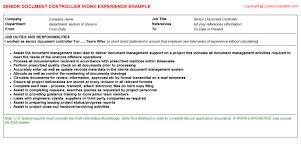 controller cv work experience   senior document controller