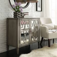 cortona scroll antique mirrored double door side chest cabinet antiqued mirrored doors view full size