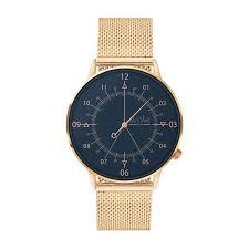 Blue & Pink <b>Gold Watch</b> Louis with a Pink <b>Gold</b> Milanese Mesh Strap ...