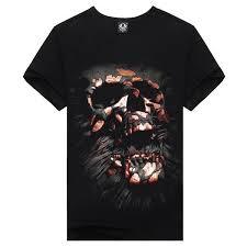 Men    s Cotton <b>Black</b> Short Sleeve <b>Creative Skull</b> Digital O-neck <b>3D</b> ...