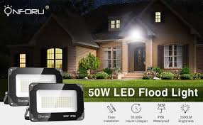 Onforu 50W LED Flood Light, 5500lm <b>Super</b> Bright Security Light ...