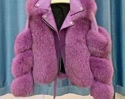 <b>Fox</b> fur leather <b>coat</b> | Etsy