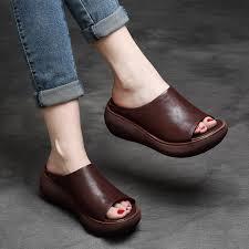 Tyawkiho <b>Genuine Leather Women</b> Slippers High Heels Wedges ...