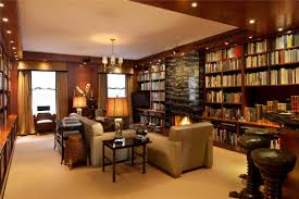 l awesome home library decorating ideas in traditional living room design with best recessed llighting and wooden wall library cupboard as well as dark awesome home library design