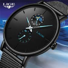 <b>LIGE Fashion Mens</b> Watches Top Brand Luxury Blue Waterproof ...