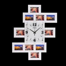 """<b>Часы настенные</b> """"Хайтек. Пирамида"""", <b>белые</b> + 10 фоторамок 10 ..."""