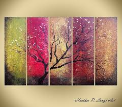 Abstract Canvas Art Red Gold Green <b>Tree</b> Nature <b>Landscape 5</b> ...