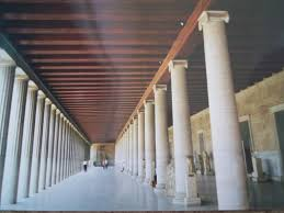 the influence of ancient greek architecture   owlcationnote the double colonnade   exterior doric and interior ionic columns in the reconstructed stoa of