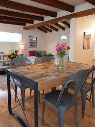 chic open dining room with industrial table chairs chic industrial furniture