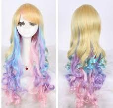 HOT Sell <b>New Fashion</b> Anime Long <b>Multicolor</b> Cosplay Wavy Wig ...
