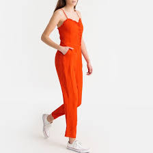 <b>Комбинезон</b> на тонких бретелях оранжево-красный <b>La Redoute</b> ...