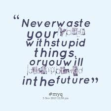 Quotes from Tan Tiong Kiem: Never waste your youth with stupid ... via Relatably.com