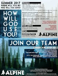 employment opportunities alpine christian summer camp and 2017 summer recruitment flyer