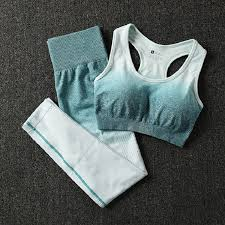 2 Piece <b>ombre gym set</b> yoga sets women gym clothes sports bra and ...