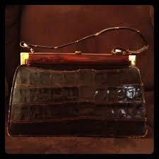 <b>Vintage alligator</b> clutch Dark brown <b>vintage alligator handbag</b>. I say ...