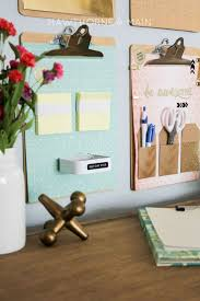 desk organization command center post it note holder made with a thick elastic catch office space organized
