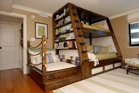 alluring cool kids beds design with brown wooden finished bunk bed saving space fitted amazing ladder amusing cool kid beds design