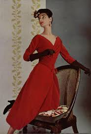 Model wearing a <b>red</b> velour dress by <b>Jacques Fath</b>, 1955. | Vintage ...
