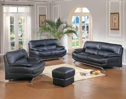 furniture modern living room ideas with black leather sofa and black leather pouffe and wooden black modern living room furniture