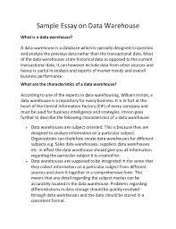 sample essay on data warehouse sample essay on data warehouse what is a data warehouse