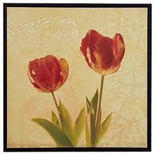 "<b>Modern Red</b> and Gold Tulip Print on Canvas, Brown <b>Frame</b>, 31.75"" x ..."