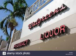 drug store signage stock photos drug store signage stock images miami beach florida walgreens pharmacy drug store liquor chain business sign signage exterior stock image
