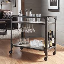 metal industrial kitchen cart metropolitan charcoal grey industrial metal mobile bar cart with wood
