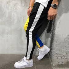 Color Block Pockets Drawstring Slim Fit Track Pants, Yellow - buy at ...