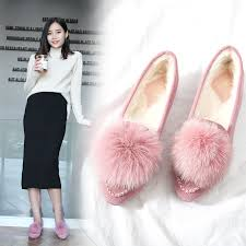 2019 new women plush winter snow boots bling suede leather slip on flats warm fur ankle comfortable chain non slip shoes