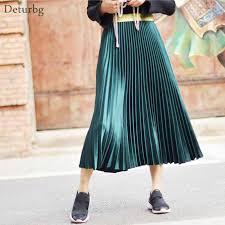 <b>Korean</b> Women Fashion Pleated Satin <b>Long Skirt</b> Female Chic ...