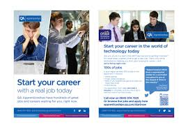 qa apprenticeships get a real job leaflet my is dan the front of the leaflet highlights the career change you could make