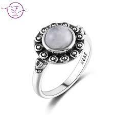 2019 925 Silver Ring <b>Round 7MM Natural Moonstone</b> And <b>Natural</b> ...
