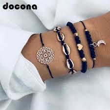<b>docona Bohemian</b> Gold Color Moon Shell Heart Layered Bracelet ...
