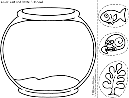 fish bowl coloring pages com kids activities color cut and paste fishbowl template