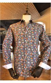 Grey <b>mexican skull</b> print men's shirt | ABH Collection JÁVEA