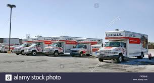 Uhaul Truck S U Haul Rental Trucks And Trailers Lined Up In Parking Lot Stock