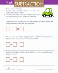 Simple Subtraction Word Problems | Worksheet | Education.comKindergarten Subtraction Worksheets: Simple Subtraction Word Problems